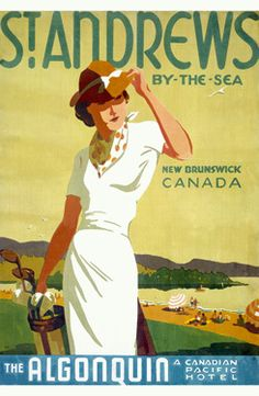 Canadian Pacific St. Andrews Canada Fine Art Giclee Print  This is a vintage fine art giclee print featuring an advertising for Canadian Pacific Railway to entice travelers to places like St. Andrews-by-the-sea.