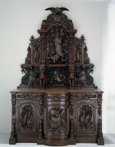 Sideboard Made Of American Tulipwood, Northeast White Pine, Black Walnut And Marble - American   c.1855