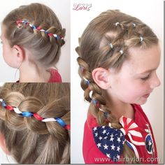 3 Color Ribbon Braid & Star - tutorial from Hair By Lori