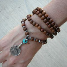 108 mala wood prayer beads and genuine Turquoise by lovepray