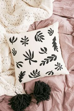 Assembly Home Embroidered Botanical Pillow