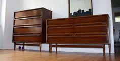 Best Sold 5Pc Walnut Bedroom Set Mid Century Modern By Bassett 400 x 300