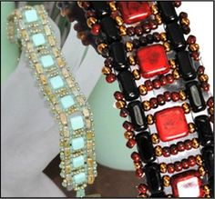 Two Hole Bricks and Two Hole Tiles make this pretty ladder bracelet by Kathy Simonds.  Detailed diagrams with instructions ~ Seed Bead Tutorials
