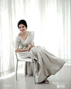 White Saree Wedding, Christian Wedding Sarees, Christian Bride, White Bridal, Wedding Dress, Indian Bridal Makeup, Indian Bridal Fashion, Indian Fashion Dresses, Blouse Designs Catalogue