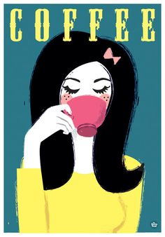 Retro Kitchen Coffee Art Print Girl sipping pink by myretronest