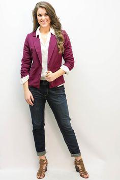 Magenta One Button Blazer $22  #magenta #blazer  www.macaclothe.com