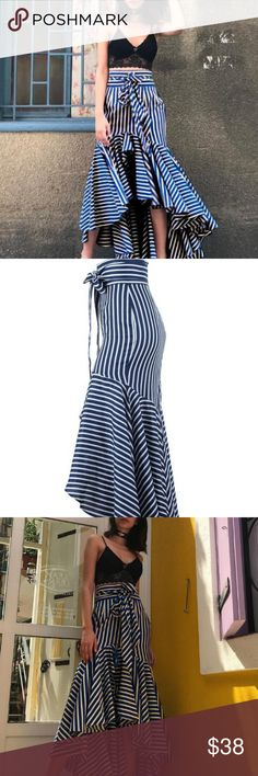 9a905c4a0b Harbor Springs Navy and White Striped Maxi Skirt Dance along the pier in  the Harbor Springs