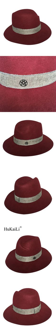 Spring/summer 2017 in Europe and  the abnormity mixed grey ribbon wine red cloth female wide-brim sun hat double black metal log