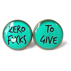 MATURE zero f*cks to give Teal Stud Earrings Pastel Goth Soft Grunge P ❤ liked on Polyvore featuring jewelry, earrings, teal jewelry, grunge jewelry, teal earrings, gothic jewelry and gothic jewellery