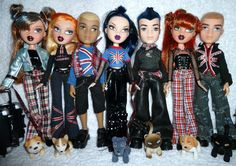 Bratz World London Pretty 'N' Punk Girlz + Boyz Dolls. We need Jade and Yasmin dolls and any boyz. We need ALL of Yasmin's outfit. WE need Jade's union jack T shirt. Bad Barbie, Barbie Dolls, Dc Superhero Girls Dolls, Bratz Doll Outfits, Bratz Girls, Brat Doll, Kids Makeup, Gothic Dolls, Hijab Fashion Inspiration