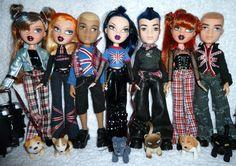 Bratz World London Pretty 'N' Punk Girlz + Boyz Dolls. We need Jade and Yasmin dolls and any boyz. We need ALL of Yasmin's outfit. WE need Jade's union jack T shirt. Bad Barbie, Barbie Dolls, Hijab Fashion Inspiration, Style Inspiration, Dc Superhero Girls Dolls, Bratz Doll Outfits, Bratz Girls, Brat Doll, Kids Makeup