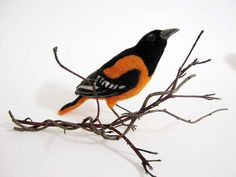 Baltimore Oriole Needle Felted Bird Made to by Flightofheart