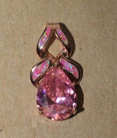 "pink lab fire opal topaz necklace pendant gemstone Rose-Gold filled jewelry 1 ""  #Pendant"