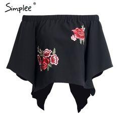 Simplee Цветочной вышивкой спинки блузка Женщины Сексуальная с плеча прохладный блузка рубашка Осень повседневная flare рукавом свободные blusas топкупить в магазине Simplee ApparelнаAliExpress
