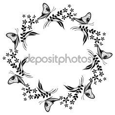 Floral frame with insects. Black and white flower, leaves and butterflies arranged in a shape of the circle — Ilustracja stockowa #98155586