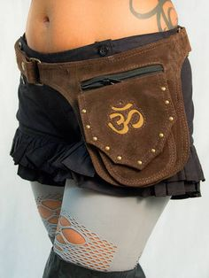 $42 Aum Om Symbol Suede Leather Pocket Belt Brown