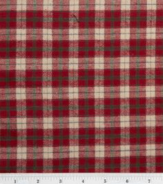 Flannel Shirting Fabric-Red Beige & Everyday Fabric at Joann.com