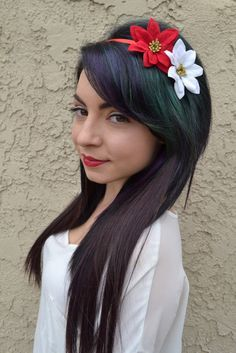 This Pretty Christmas Headband Features A Red And A White Poinsettia With…