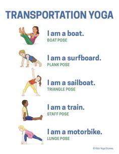 Transportation Activities for Kids Yoga (Printable Poster) Transport-Yoga-Plakat Yoga Flow, Yoga Meditation, Kids Yoga Poses, Yoga For Kids, Exercise For Kids, Preschool Yoga, Preschool Activities, Movement Activities, Physical Activities