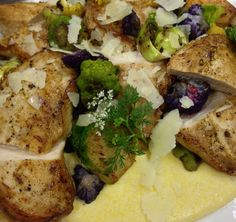 Our chefs never cease to impress! Our tasting today featured this mouth watering plate of Pan Seared Chicken Breast with Mascarpone Polenta, Brussel Sprouts, Tri-Colored Cauliflower, Lemon, Olive Oil and Pecorino.  www.paramounteventschicago.com