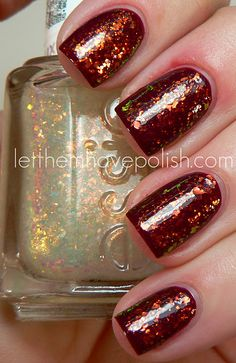 Essie Shine of the Times Flakies over dark red...looks like Elle's Spell!