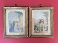 "Pair Antique Victorian Framed 6"" x 4"" George Baxter Prints Queen Victoria & Prince Albert by LuxfordVintage on Etsy"
