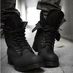 Tidal current male boots fashion califs fashion denim boots nubuck leather boots high boots barreled martin boots $48.54