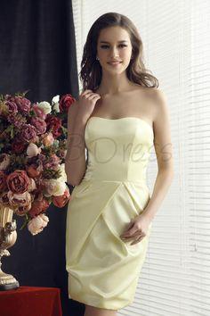 Fabulous Ruched Sheath/Column Knee-Length Strapless Sandra's Bridesmaids Dress