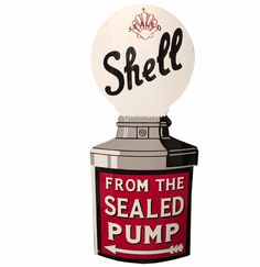 Shell From The Sealed Pump Porcelain Sign 80 x 37 cm