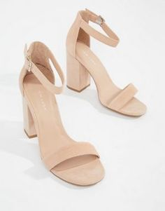 540972a8841618 New Look Real Suede Barely There Block Heeled Sandal Asos