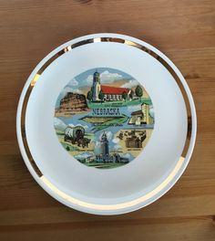 Vintage Nebraska souvenir plate cornhuskers state dish