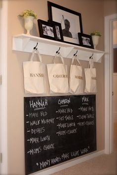 Home organization. In would also include chores for Mom and Dad so they see everyone helps out. I also like the idea of the bags. Maybe put their things in there that need to be picked up and they are responsible for putting their things away.