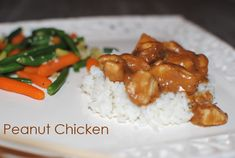 Easy Peanut Chicken - made this tonight. Super easy, all ingredients on hand. Added coconut oil, red pepper flakes, mushrooms, and broccoli. Good Food, Yummy Food, Tasty, Asian Recipes, Healthy Recipes, Peanut Chicken, Dinner Recipes, Easy Meals, Healthy Eating