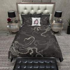Black and Cream Octopus Duvet Bedding Sets