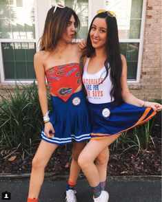 5cc3da2b7f4 game day style- vintage gator bandanna   blue cheerleader skirt with orange  clout glasses from