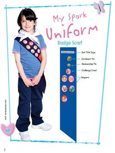 Sparks Uniform and Badge Placement Brownies Girl Guides, Brownie Guides, Guides Uniform, Guide Badges, Canadian Girls, Sewing For Kids, Girl Scouts, Activities For Kids, Baby Kids