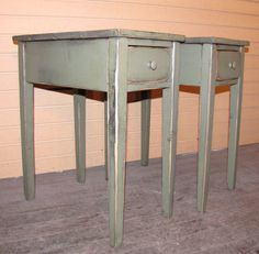 Two Distressed Shaker End Tables With Drawers - Rustic Cottage Style -color…