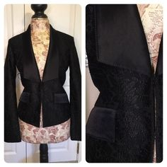 St. John black jacket Classic black lace jacket from high end designer St. John. Luxurious silk and spandex lined for a fabulous feel and comfort fit. Matching dress and set on separate listings. Gorgeous addition to your wardrobe. St. John Jackets & Coats Blazers