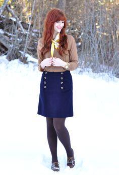 Shirt + skirt. Silk scarf. Shoes. Hair.