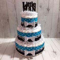 Blue and Black Polka Dot Little Man Diaper Cake Centerpiece