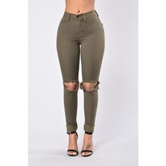 Clean Break Jeans Olive (£12) ❤ liked on Polyvore featuring pants and jeans