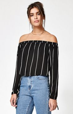 Check out the Kendall & Kylie Stripe Off-The-Shoulder Top on Keep!