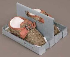 Pair of children's shoes, French, possibly 17th century, Linen and gilt metal thread passementerie and linen plain weave lining, with silk g...
