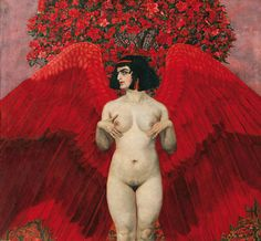 Karl Mediz (Austrian/German, 1868-1945),Roter Engel [Red Angel], 1902. Oil on canvas, 172 x 185.5cm. Private collection, Vienna.