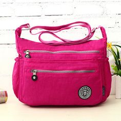 Women Lightweight Waterproof Nylon Shoulder Bags Outdoor Multilayer Zipper Pockets  Crossbody Bags
