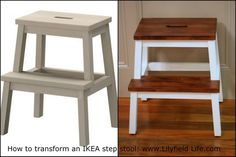 Transforming an IKEA step stool into beautiful walnut two toned wooden stool (stool is 16.95)