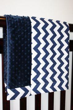 Crib Blanket - Baby Bedding - Riley Blake Medium Chevrons in Navy with White or Navy Minky Dot  (36 X 54)