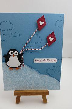 Valentine Card - Penguin with Kites