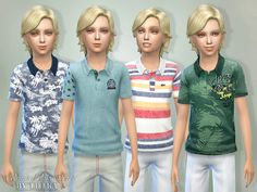 Printed Polo Shirts for Boys Found in TSR Category 'Sims 4 Male Child Everyday'