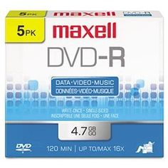 MAX638002 - DVD-R Recordable Discs with Jewel Cases by Maxell. $3.06. Preserve files and memorable moments, or share them with business associates, friends, and family. High-speed recording allows discs to be burned quickly and efficiently. Large capacity is ideal for personal videos, multimedia presentations, archival backups, digital image storage, and more. Enjoy secure, unalterable data storage with write-once format. Superior archival life ensures performa...